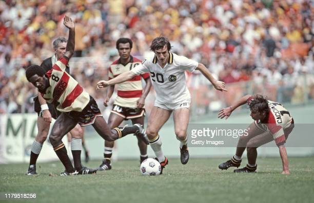 Francois Van der Elst of the New York Cosmos in action during the 1980 Soccer Bowl NASL match against Fort Lauderdale Strikers at RFK Stadium on...