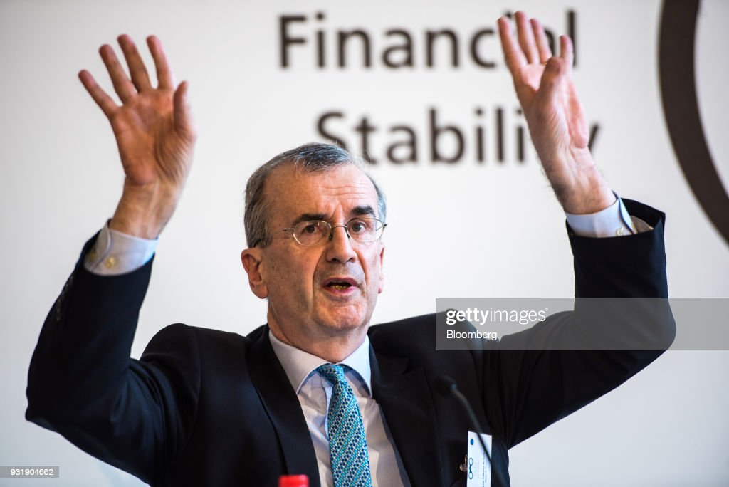 Francois Villeroy de Galhau, governor of the Bank of France, gestures while speaking at the 'ECB and its Watchers' conference in Frankfurt, Germany, on Wednesday, March 14, 2018. European Central Bank President Mario Draghi said ECB policy makers wont rush to remove stimulus amid still-low inflation and warned that U.S. trade policies and a stronger euro could cloud the outlook. Photographer: Andreas Arnold/Bloomberg via Getty Images