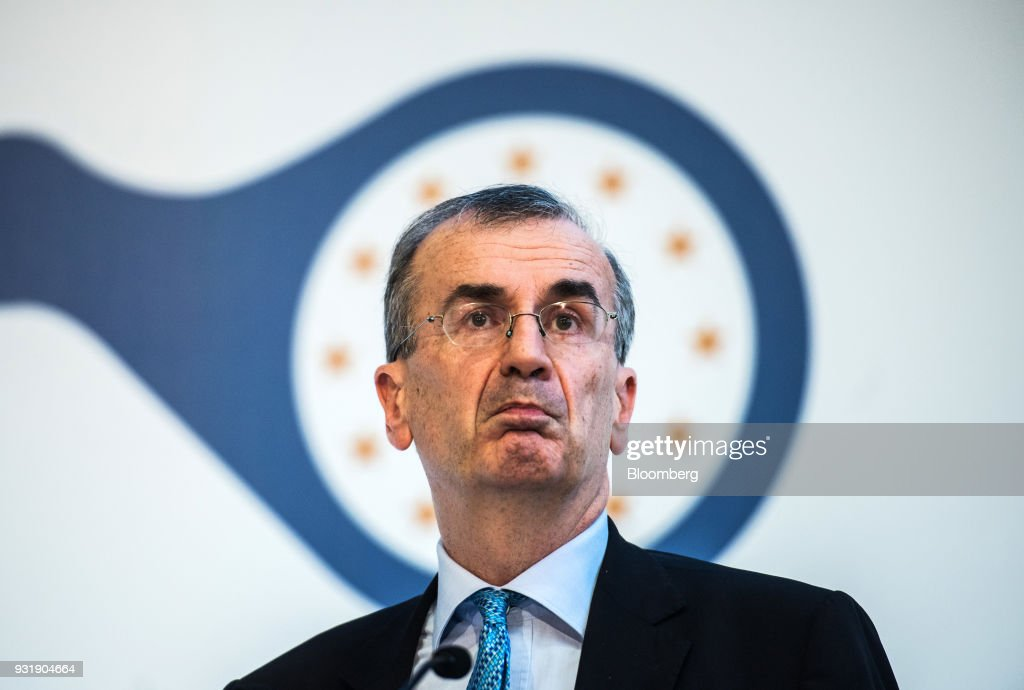 Francois Villeroy de Galhau, governor of the Bank of France, pauses at the 'ECB and its Watchers' conference in Frankfurt, Germany, on Wednesday, March 14, 2018. European Central Bank President Mario Draghi said ECB policy makers wont rush to remove stimulus amid still-low inflation and warned that U.S. trade policies and a stronger euro could cloud the outlook. Photographer: Andreas Arnold/Bloomberg via Getty Images