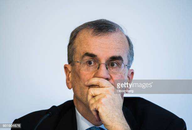 Francois Villeroy de Galhau governor of the Bank of France pauses at the 'ECB and its Watchers' conference in Frankfurt Germany on Wednesday March 14...