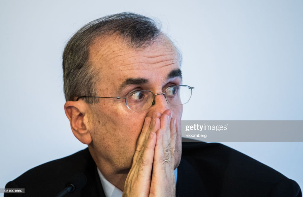 Francois Villeroy de Galhau, governor of the Bank of France, reacts at the 'ECB and its Watchers' conference in Frankfurt, Germany, on Wednesday, March 14, 2018. European Central Bank President Mario Draghi said ECB policy makers wont rush to remove stimulus amid still-low inflation and warned that U.S. trade policies and a stronger euro could cloud the outlook. Photographer: Andreas Arnold/Bloomberg via Getty Images