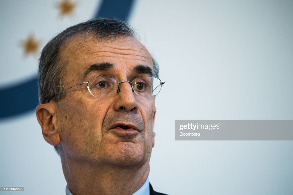 Francois Villeroy de Galhau, governor of the Bank of France, speaks at the 'ECB and its Watchers' conference in Frankfurt, Germany, on Wednesday, March 14, 2018. European Central Bank President Mario Draghi said ECB policy makers wont rush to remove stimulus amid still-low inflation and warned that U.S. trade policies and a stronger euro could cloud the outlook. Photographer: Andreas Arnold/Bloomberg via Getty Images