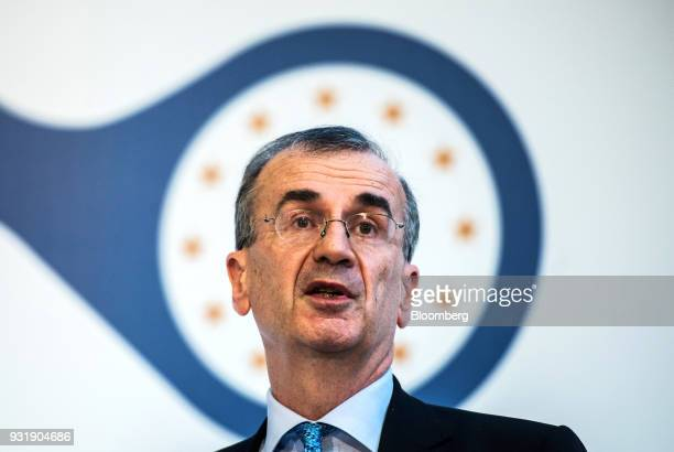 Francois Villeroy de Galhau governor of the Bank of France speaks at the 'ECB and its Watchers' conference in Frankfurt Germany on Wednesday March 14...