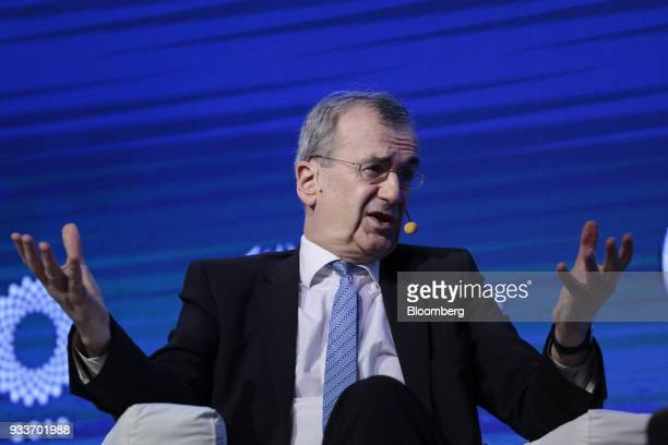 Francois Villeroy de Galhau governor of the Bank of France speaks during the Institute of International Finance G20 Conference in Buenos Aires...
