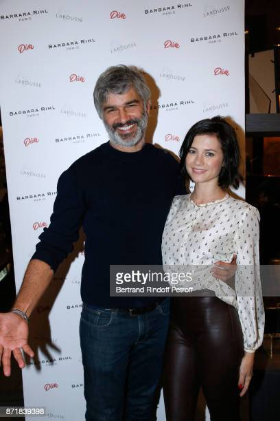 Francois Vincentelli and his companion Alice Dufour attend Reem Kherici signs her book 'Diva' at the Barbara Rihl Boutique on November 8 2017 in...