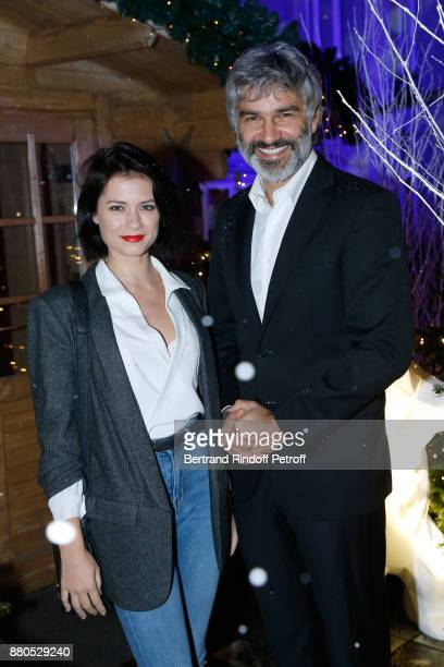 Francois Vincentelli and his companion Alice Dufour attend the Inauguration of the 'Chalet Les Neiges 1850' on the terrace of the Hotel 'Barriere Le...