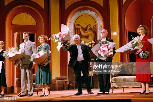 Francois Vincentelli Florence Pernel director Bernard Murat Francois Berleand and Pascale Arbillot on stage at the end of the last performance of the...