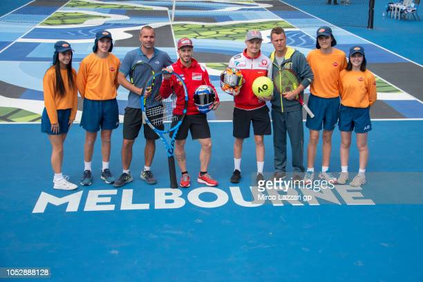 Francois Vogelsberger of Australia Andrea Dovizioso of Italy and Ducati Team Jack Miller of Australia and Alma Pramac Racing and Lleyton Hewitt of...