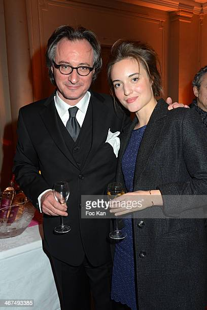 Francois Weigel and daughter Clemence Weigel attend the 'Pieces Jaunes' 25th Anniversary Cocktail And Concert At La Salle Gaveau on February 6 2014...