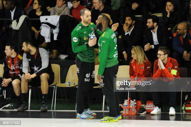 Francois Xavier Chapon and Remy Gervelas of Ivry during the Lidl Starligue match between Ivry and Chambery on March 7 2018 in IvrysurSeine France