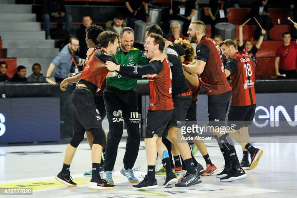 Francois Xavier Chapon celebrates with team mates during the Lidl Starligue match between Ivry and Chambery on March 7 2018 in IvrysurSeine France