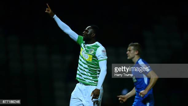 Francois Zoko of Yeovil Town celebrates his sides first goal during the Sky Bet League Two match between Yeovil Town and Notts County at Huish Park...
