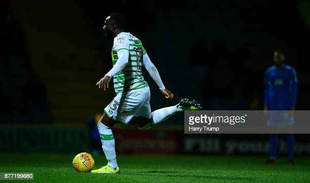 Francois Zoko of Yeovil Town scores his sides first goal during the Sky Bet League Two match between Yeovil Town and Notts County at Huish Park on...