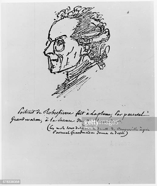 FrancoisAuguste ParsevalGrandmaison French school Portrait of Maximilien de Robespierre on 9 Thermidor the day he was arrested 19th century Ink on...