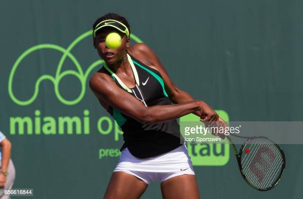 Francoise Abanda during the qualifying round of the 2017 Miami Open on March 20 at Tennis Center at Crandon Park in Key Biscayne FL