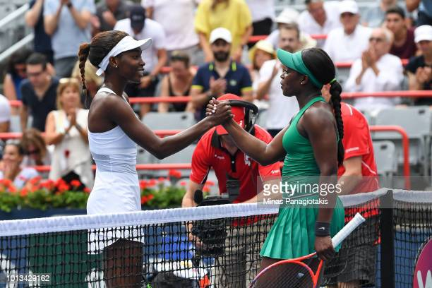 Francoise Abanda of Canada congratulates Sloane Stephens after losing in straight sets 60 62 during day three of the Rogers Cup at IGA Stadium on...