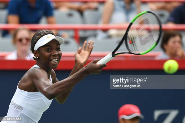 Francoise Abanda of Canada hits a return against against Sloane Stephens during day three of the Rogers Cup at IGA Stadium on August 8 2018 in...