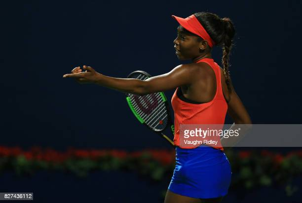 Francoise Abanda of Canada reacts after a missed shot against Lucie Safarova of Czech Republic during Day 3 of the Rogers Cup at Aviva Centre on...