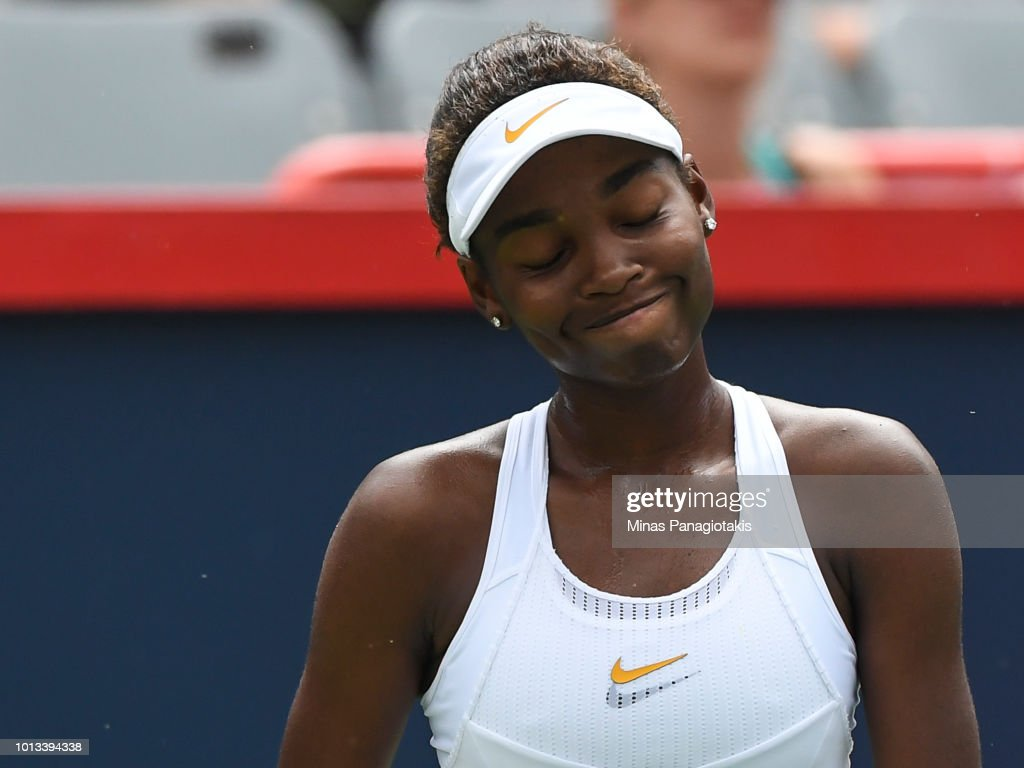 Francoise Abanda of Canada reacts after losing a point against Sloane Stephens during day three of the Rogers Cup at IGA Stadium on August 8, 2018 in Montreal, Quebec, Canada.