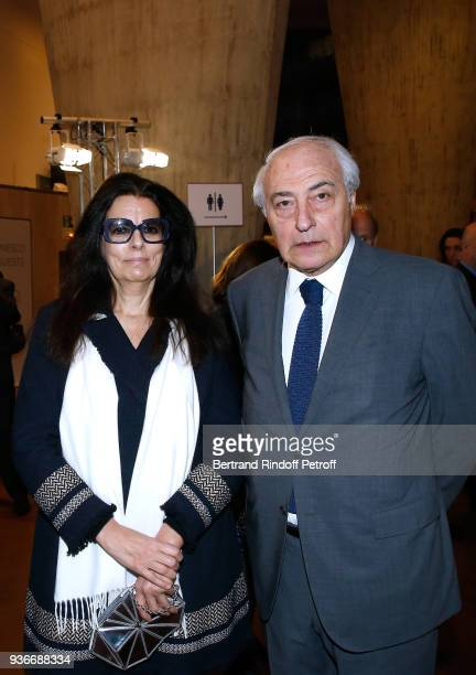 Francoise Bettencourt Meyers and her husband JeanPierre Meyers attend the 2018 L'Oreal UNESCO for Women in Science Awards Ceremony at UNESCO on March...
