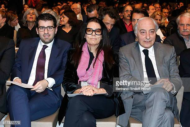 Francoise Bettencourt Meyers and her husband JeanPierre Meyers sitting near their son Nicolas Meyers attend the L'OrealUNESCO Awards 2016 For Women...