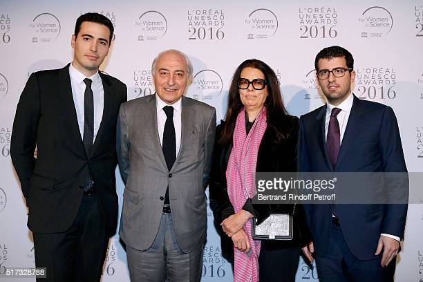 Francoise Bettencourt Meyers and her husband JeanPierre Meyers standing between their sons JeanVictor Meyers and Nicolas Meyers attend the...