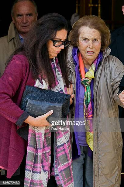 Francoise Bettencourt Meyers and Liliane Bettenourt leave the RITZ hotel on October 21 2016 in Paris France
