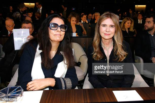Francoise Bettencourt Meyers and Sophie Agon attend the 2018 L'Oreal UNESCO for Women in Science Awards Ceremony at UNESCO on March 22 2018 in Paris...