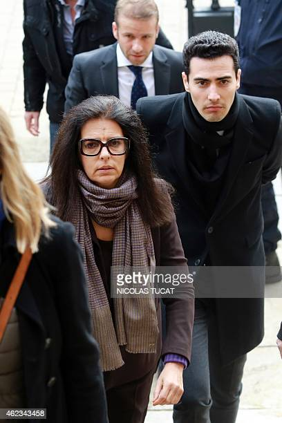 Francoise Bettencourt Meyers arrives at the Court House in Bordeaux with her son JeanVictor on January 27 after a break during the second day of the...