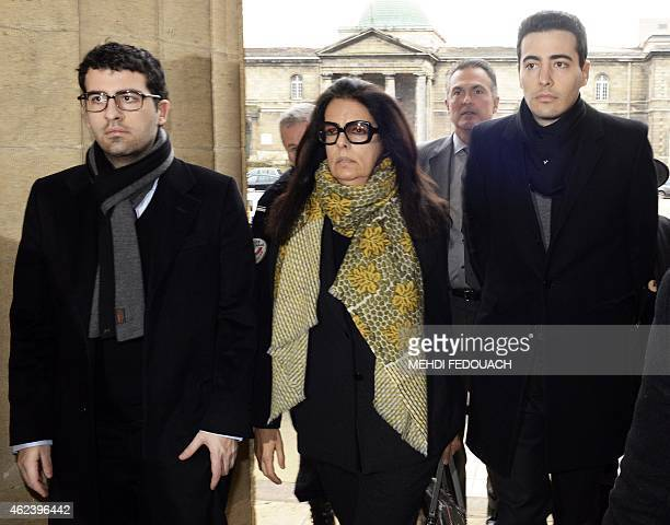 Francoise Bettencourt Meyers arrives at the Court House in Bordeaux with her sons Nicolas and JeanVictor on January 28 on the third day of the trial...