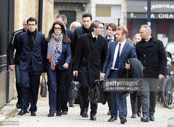 Francoise Bettencourt Meyers arrives with her lawyer Arnaud Dupin Nicolas HucMorel and her sons Nicolas and JeanVictor at the Court House in Bordeaux...