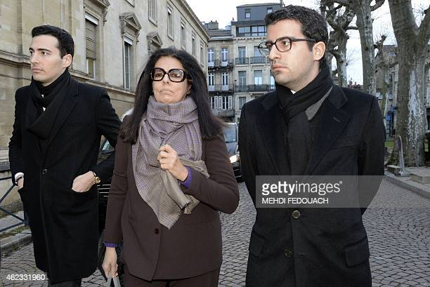 Francoise Bettencourt Meyers arrives with her sons Nicolas and JeanVictor at the Court House in Bordeaux on January 27 to attend the second day of...