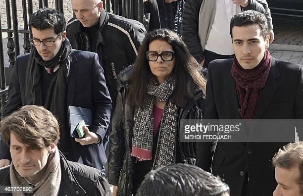 Francoise Bettencourt Meyers arrives with her sons Nicolas and JeanVictor the Bordeaux courthouse February 3 2015 for the 7th day of the trial of ten...