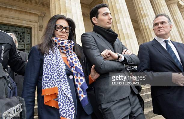 Francoise Bettencourt Meyers daughter of France's richest woman L'Oreal heiress Liliane Bettencourt flanked by her son JeanVictor and Liliane...
