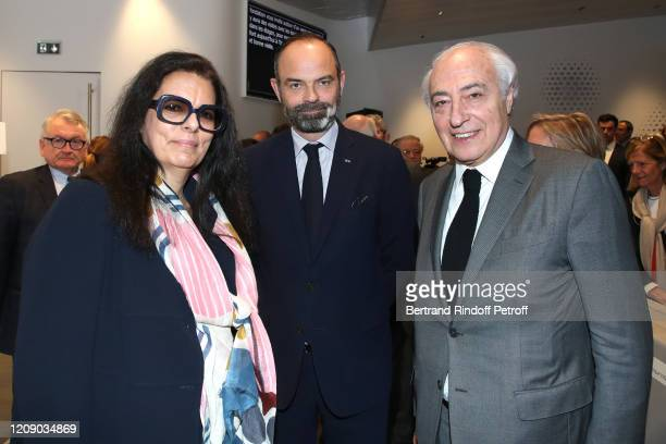 Francoise Bettencourt Meyers, French Prime Minister Edouard Philippe and President of the Hearing Foundation Jean-Pierre Meyers attend the...