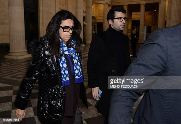 Francoise Bettencourt Meyers leaves the Bordeaux courthouse with her son Nicolas on February 13 2015 during the 13th day of the trial of ten people...