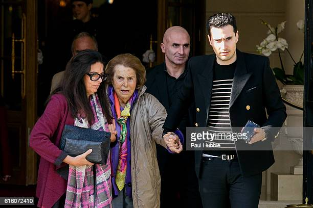 Francoise Bettencourt Meyers Liliane Bettencourt and JeanVictor Meyers leave the RITZ hotel on October 21 2016 in Paris France