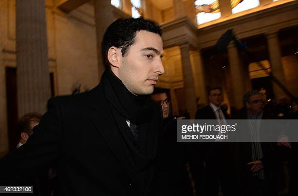 Francoise Bettencourt Meyers' son JeanVictor arrives at the Court House in Bordeaux on January 27 to attend the second day of the trial of ten people...