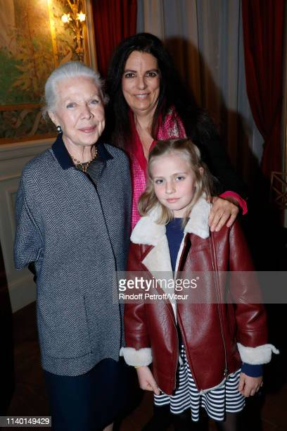 Francoise Bettencourt Meyers standing between Gersende de SabranPonteves Duchess d'Orleans and her granddaughter attend the Fondation Bettencourt...