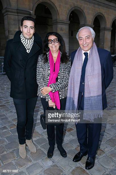Francoise Bettencourt Meyers standing between her husband JeanPierre Meyers and their son JeanVictor Meyers attend 'La Traviata' Opera en Plein Air...