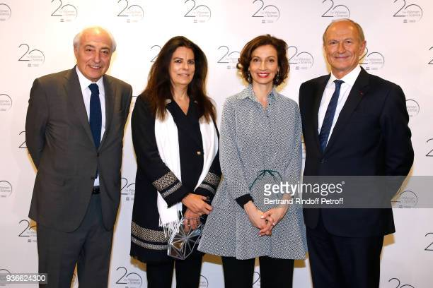 Francoise Bettencourt Meyers with her husband JeanPierre Meyers DirectorGeneral of the UNESCO Audrey Azoulay and Chairman Chief Executive Officer of...