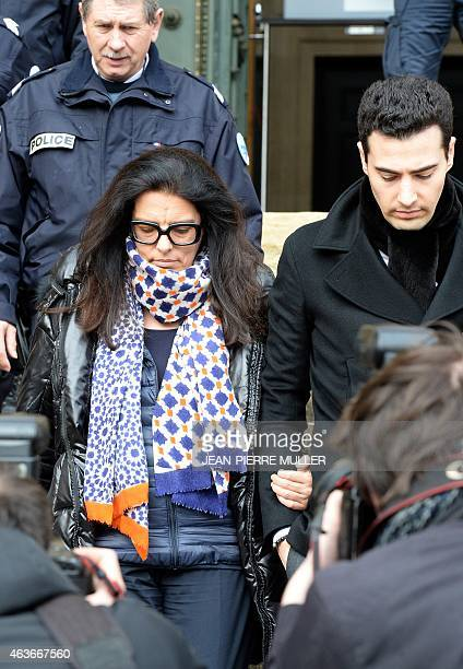 Francoise BettencourtMeyers daughter of France's richest woman Liliane Bettencourt and her son Victor leave the courthouse of Bordeaux southwestern...