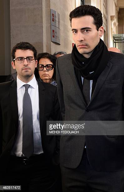 Francoise BettencourtMeyers the daughter of France's richest woman Liliane Bettencourt and her sons JeanVictor and Nicolas walk on January 30 2015 at...