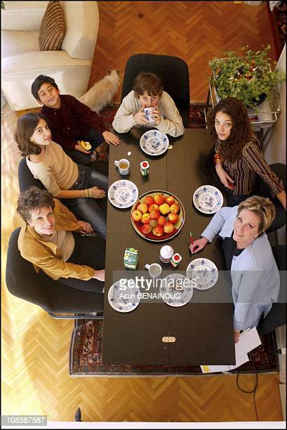 Francoise Catherine Laborde and children in France on February 09 2003