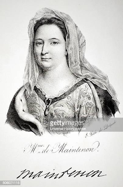 Francoise d'Aubigne Marquise de Maintenon mistress and from 1685 second wife of Louis XIV of France Lithograph Paris 1832 Photo by