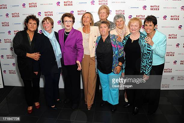 Francoise Durr Billie Jean King Ingrid LofdahlBentzer Betty Stove Judy Dalton and Ilana Kloss attend the UK premiere of 'Battle Of The Sexes' at The...