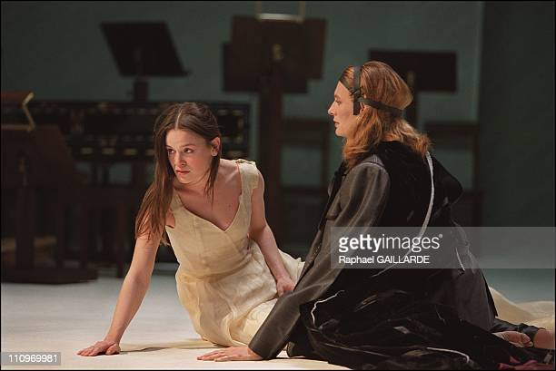 Francoise Gillard as Esther and Sylvia Berger as Assuerus in the rehearsal of Jean Racines Esther on stage at the Comedie Francaise in Paris, France...