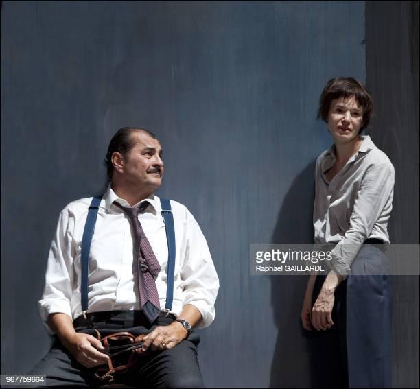 Francoise GillardBruno RaffaelliClotilde de Bayser and Nazim Boudjenah from The Comedie Francaise perform during Antigone rehearsal written by Jean...