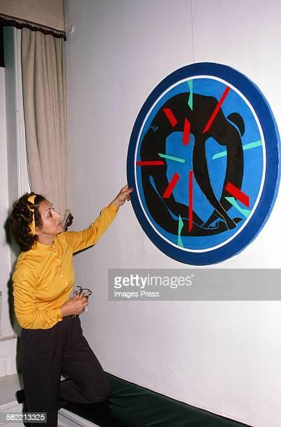 Francoise Gilot in her art studio circa 1980 in La Jolla California