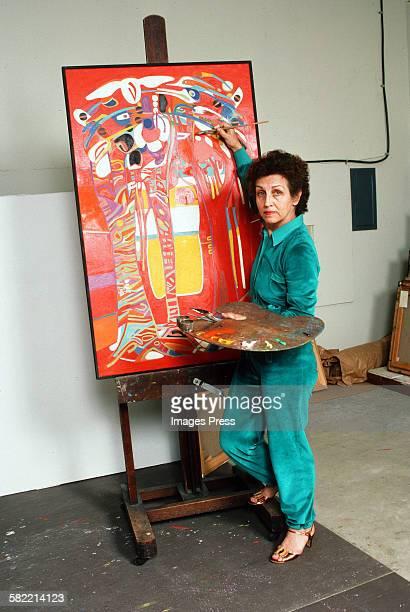 Francoise Gilot in her art studio circa 1982 in La Jolla California